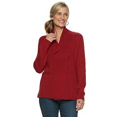 Women's Croft & Barrow® Shawl Collar Pleated Sweater