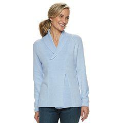 Women's Croft & Barrow® Shawl Collar Pleated Sweater