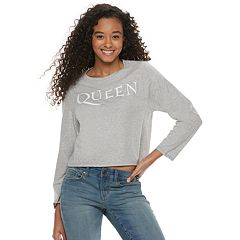 Juniors' Queen Logo Long Sleeve Graphic Tee