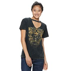 Juniors' Willie Nelson Cutout Graphic Tee