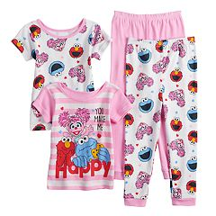 Toddler Girl Sesame Street Elmo, Cookie Monster & Abby Cadabby Tops & Bottoms Pajama Set
