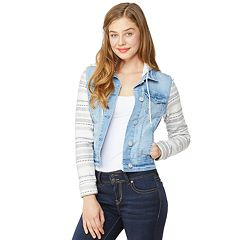 Juniors' WallFlower Knit Sleeve Hooded Denim Jacket