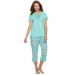 Women s Croft   Barrow® Lace-Trim Tee   Capri Pajama Set 1877a55dc