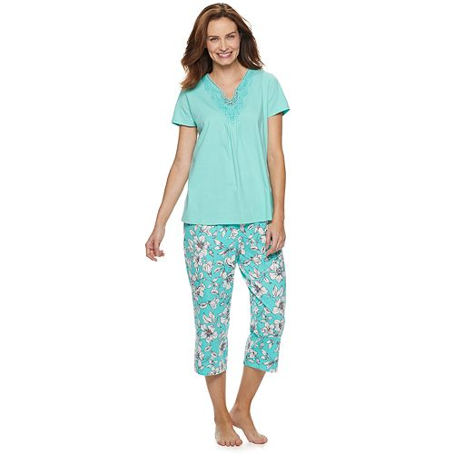 Women's Croft & Barrow® Lace-Trim Tee & Capri Pajama Set