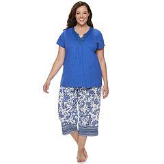 5e1beff6959ca Plus Size Croft   Barrow® Lace-Trim Sleep Tee   Capri Set