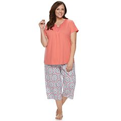 Plus Size Croft & Barrow® Lace-Trim Sleep Tee & Capri Set