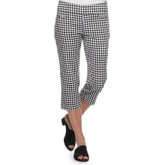 Black and White Gingham Capri Pants