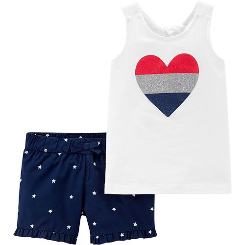Baby Girl Carter's Patriotic Heart Tank Top & Star Shorts Set