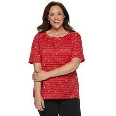 Plus Size Croft & Barrow® Button-Shoulder Boatneck Elbow Sleeve Top