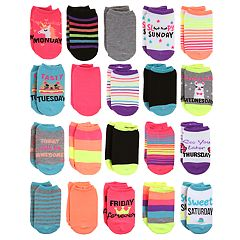 Girls 4-16 Elli by Capelli 20-pack Day of the Week No-Show Socks