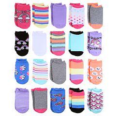 Girls 4-16 Elli by Capelli 20-pack Unicorn & Rainbow No-Show Socks