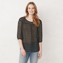 Petite LC Lauren Conrad Pintuck Peasant Top