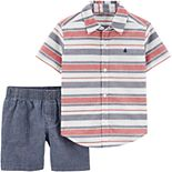 Baby Boy Carter's® 2-Piece Striped Button-Front Top & Chambray Short Set