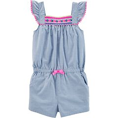 Toddler Girl Carter's Embroidered Chambray Romper