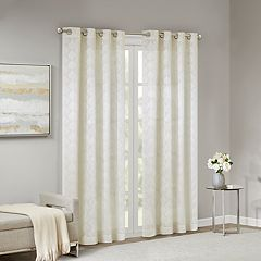 Madison Park Ember Leaf Embroidered Sheer Window Curtain