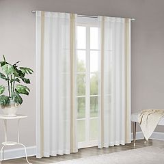 Madison Park Cascade Border Embroidered Sheer Window Curtain