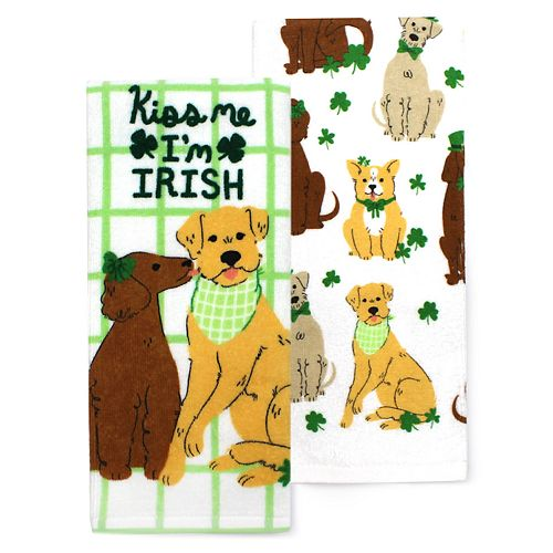 Celebrate St Patrick S Day Together Dog Kitchen Towel 2 Pack