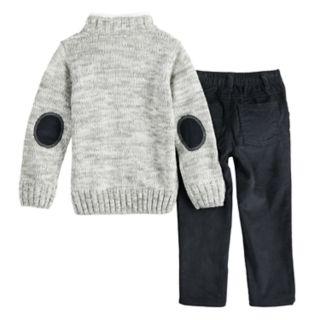 Toddler Boy Little Lad Cable Knit Sweater & Corduroy Pants Set