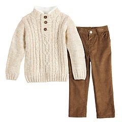 Toddler Boy Little Lad Cable Knit Sweater & Corduroy Pants Set