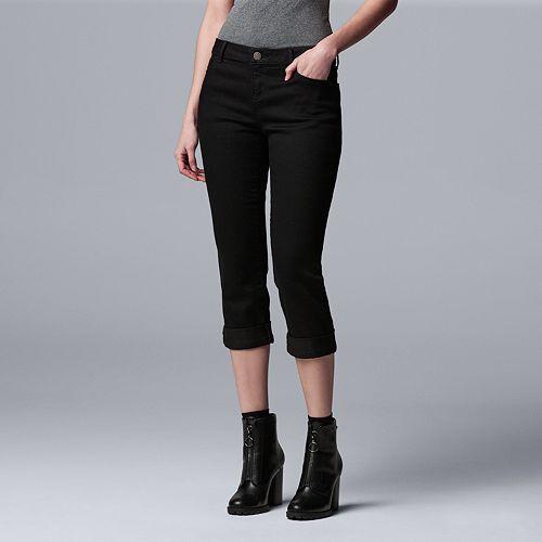 c803a494ee372 Petite Simply Vera Vera Wang Cuffed Capri Jeans