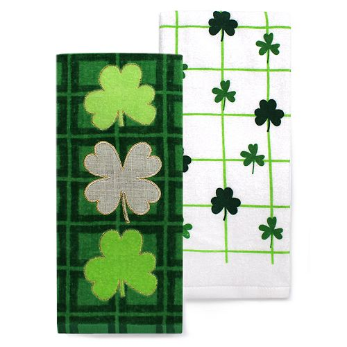Celebrate St Patrick S Day Together Three Clovers Kitchen Towel 2 Pack
