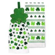 Celebrate St. Patrick's Day Together Shamrock Tie Top Kitchen Towel 2-Pack