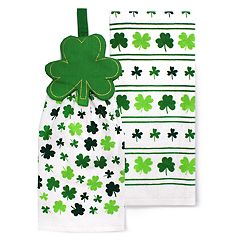Celebrate St. Patrick's Day Together Shamrock Tie Top Kitchen Towel 2-Pack