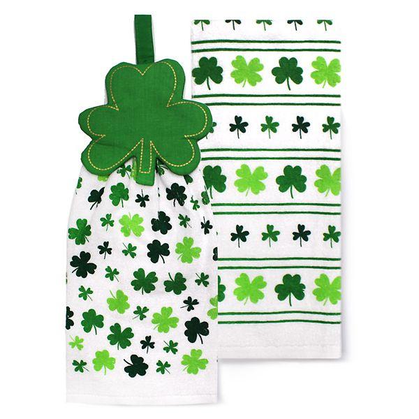 Celebrate St Patrick S Day Together Shamrock Tie Top Kitchen Towel 2 Pack