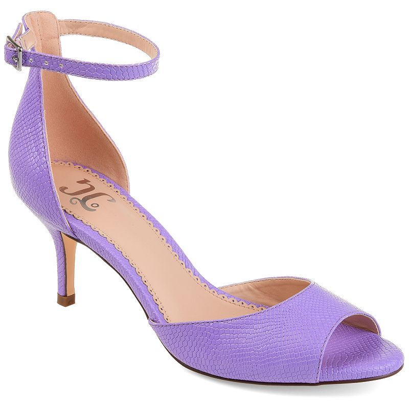Add a hint of romance to all of your favorite looks when you wear these feminine Narelle sandals from Journee Collection. SANDAL FEATURES Sleek silhouette Kitten heel SANDAL CONSTRUCTION Faux leather upper Polyurethane lining Rubber, faux leather outsole SANDAL DETAILS Open toe Buckle closure Padded footbed 1.75-in. heel 0.5-in. platform Size: 12. Color: Purple. Gender: female. Age Group: adult. Material: Synthetic.