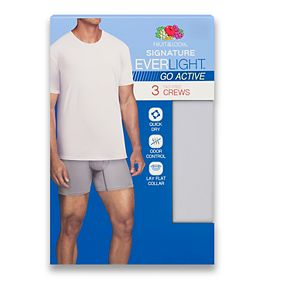 Men's Fruit of the Loom Signature Everlight Go Active 3-pack Crewneck Tees
