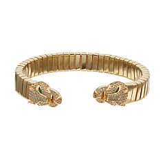 18k Gold Over Silver Cubic Zirconia Panther Bangle Bracelet