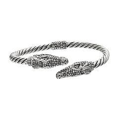 Sterling Silver Crocodile Hinged Bangle Bracelet