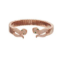 18k Rose Gold Over Silver Cubic Zirconia Snake Bangle Bracelet