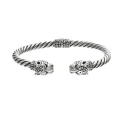 Sterling Silver Leopard Hinged Bangle Bracelet