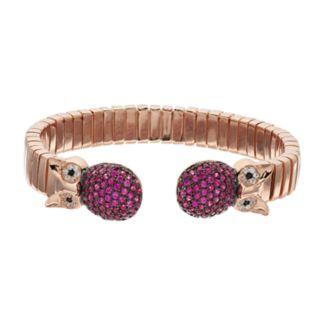 18k Rose Gold Over Silver Owl Bangle Bracelet