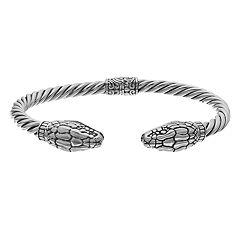 Sterling Silver Snake Hinged Bangle Bracelet