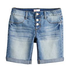 Girls 7-16 & Plus Size SO® Triple Snap Button Bermuda Shorts