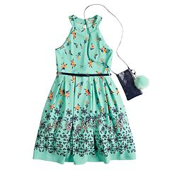 Girls 7-16 & Plus Size Knitworks Belted Halter Skater Dress with Necklace & Crossbody Purse
