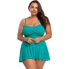 dfb30c152b8 Plus Size Chaps Ruched One-Piece Swimdress. sale