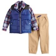 Toddler Boy Little Lad Vest, Plaid Shirt & Jogger Pants Set