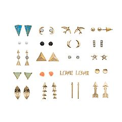 Mudd® Gold Tone Simulated Stone, Arrow & Bird Motif Nickel Free Stud Earring Set
