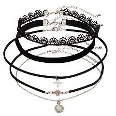 Mudd® Silver Tone Charm & Lace Choker Necklace Set