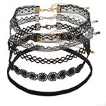 SO® Silver & Gold Tone Black Lace Choker Necklace Set