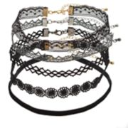 Mudd® Silver & Gold Tone Black Lace Choker Necklace Set