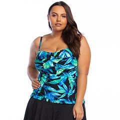 43af3d9f59a One-Piece Swimdress. Plus Size Chaps Twist Front Shirred Bandini Top