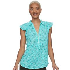 Juniors' Candie's® Zip Front Flutter Sleeve Top