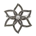 Tori Hill Marcasite & Fresh Water Pearl Brooch