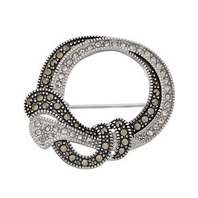 Tori Hill Marcasite & Crystal Double Knot Brooch