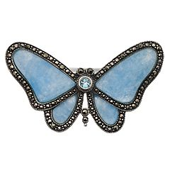 Tori Hill Genuine Marcasite, Topaz & Jade Butterfly Brooch