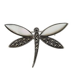 Tori Hill Marcasite & Mother of Pearl Dragonfly Brooch